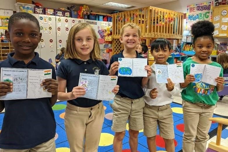 Kindergarteners learning