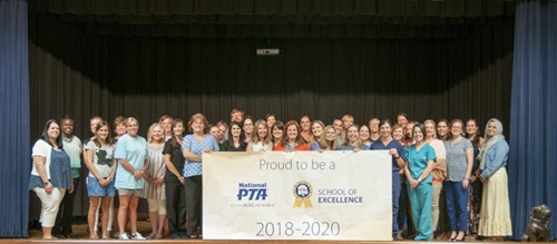 PTA Board Members; Proud to be a National PTA: Every Child, Every Voice; PTA School of Excellence 2018-2020